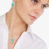 Green enamelled leaf earrings