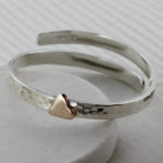 Christening bangle with gold heart