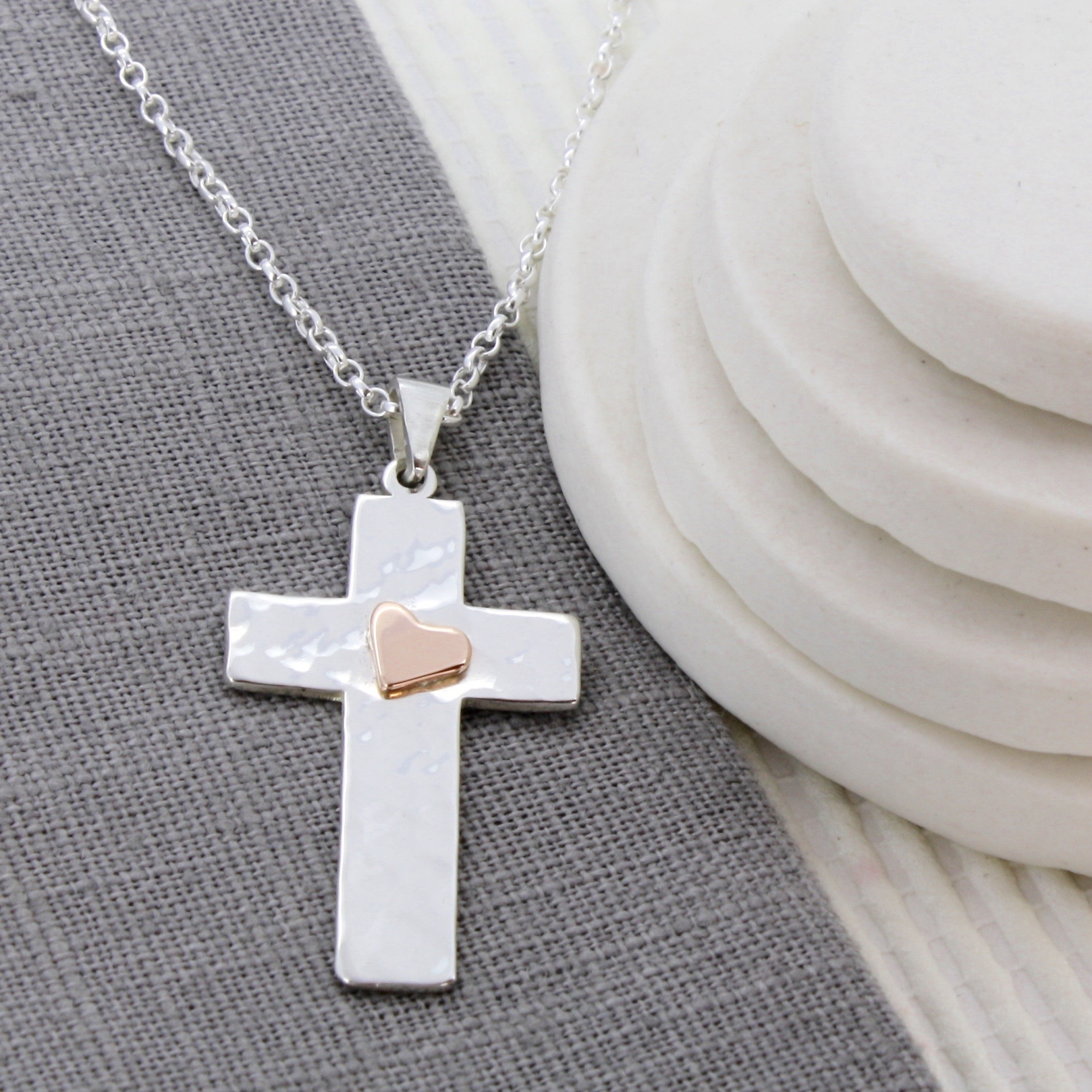 personalised hammered silver cross with gold heart
