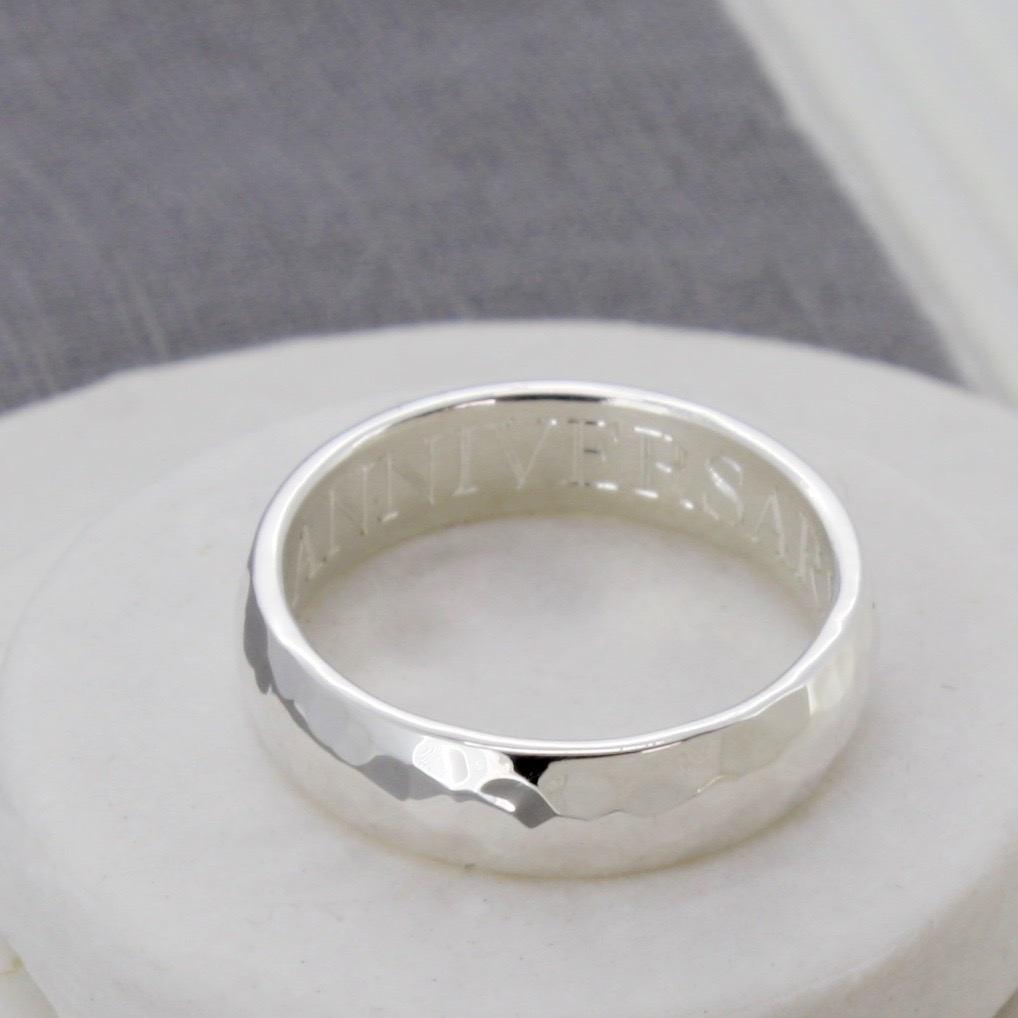 personalised hammered silver man's ring