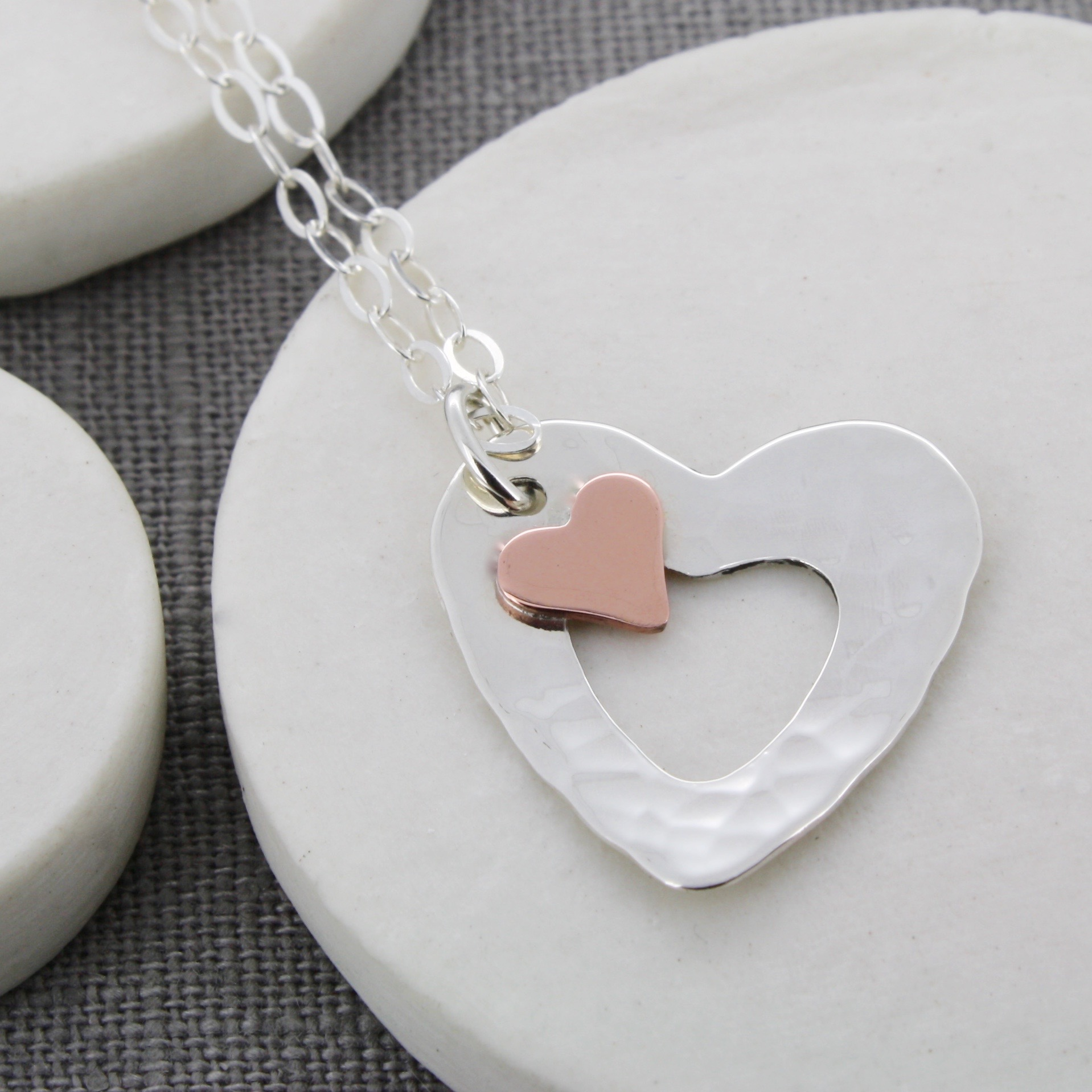 Handmade Personalised Copper Heart Pendant Carole Allen