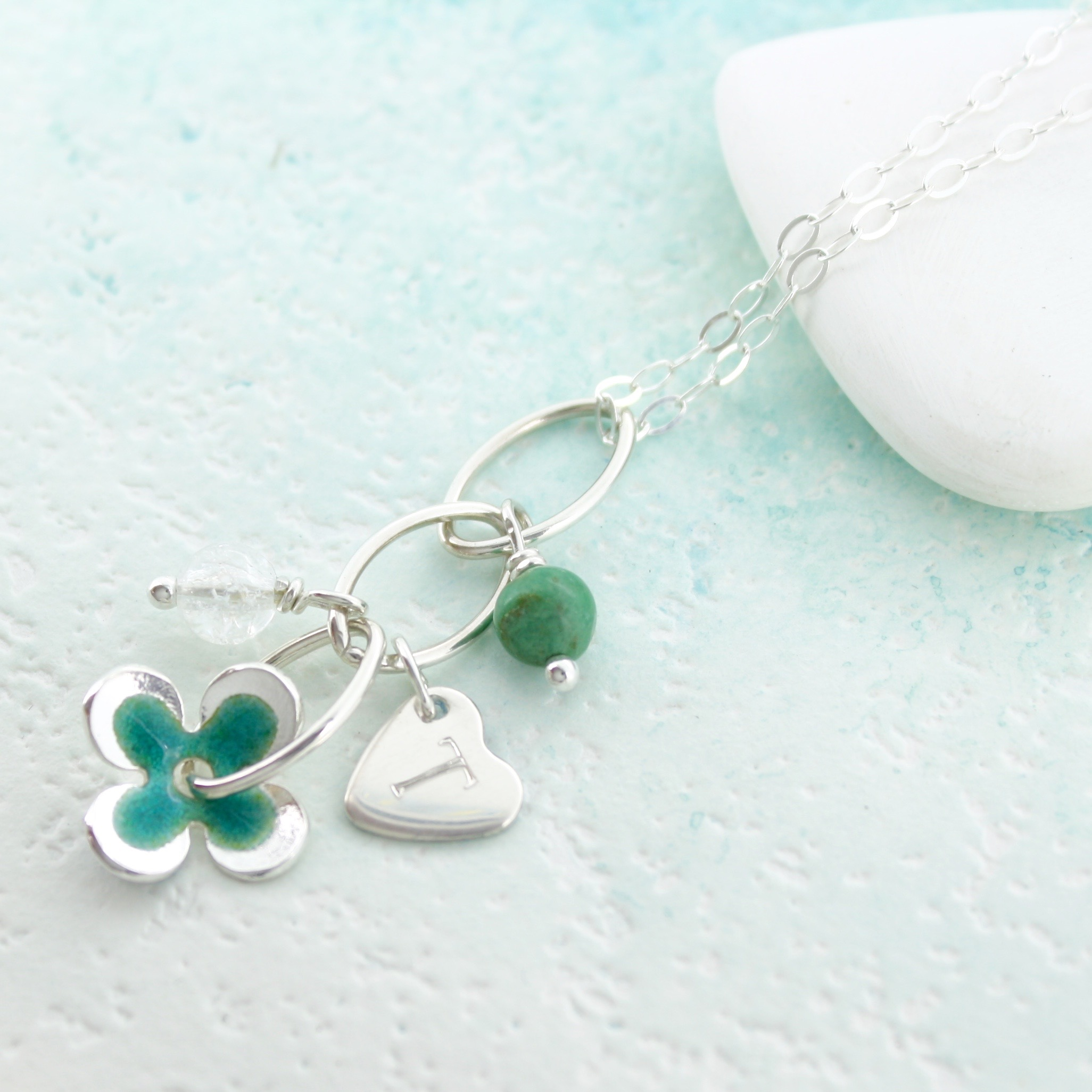 personalised enamel daisy pendant