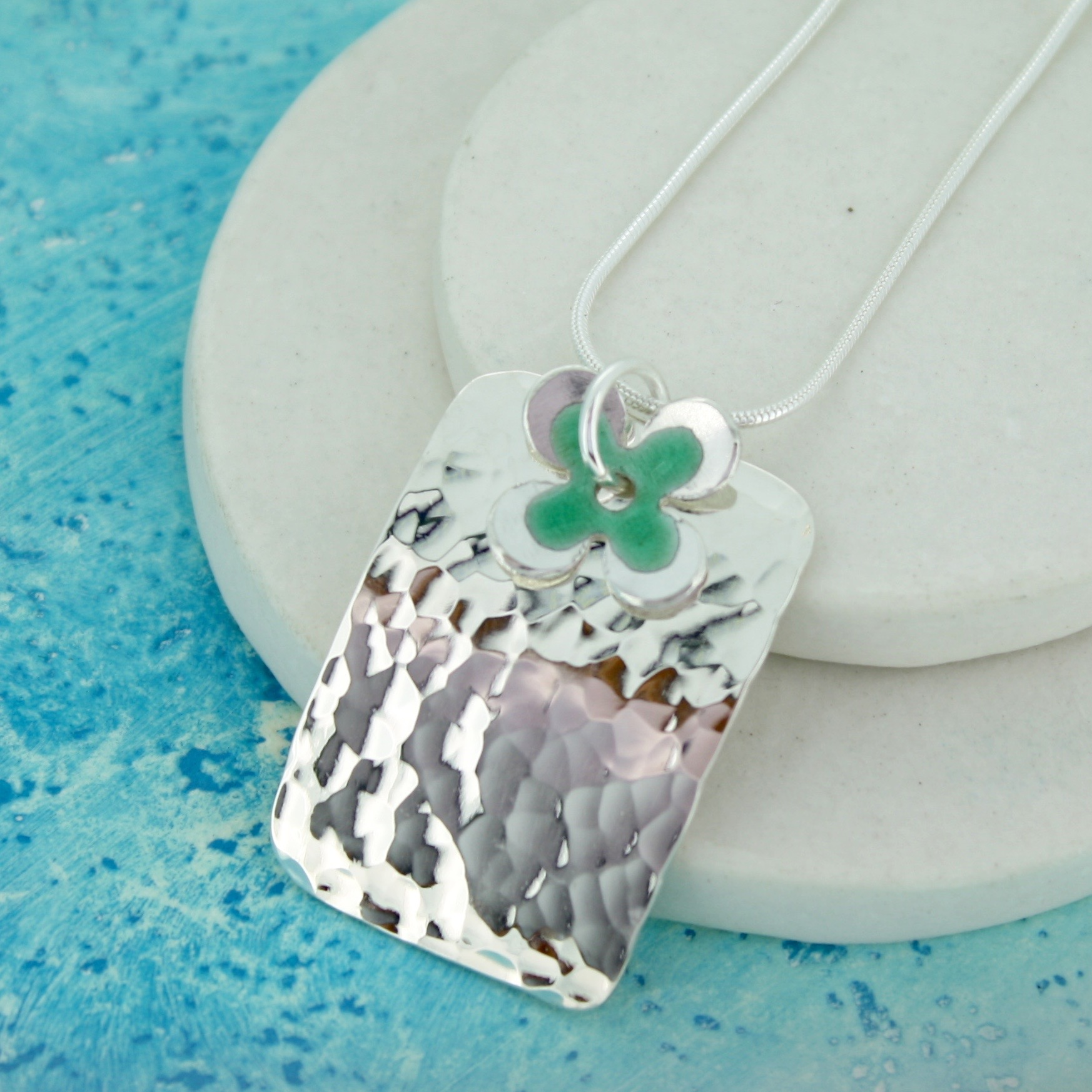 enamelled daisy personalised pendant