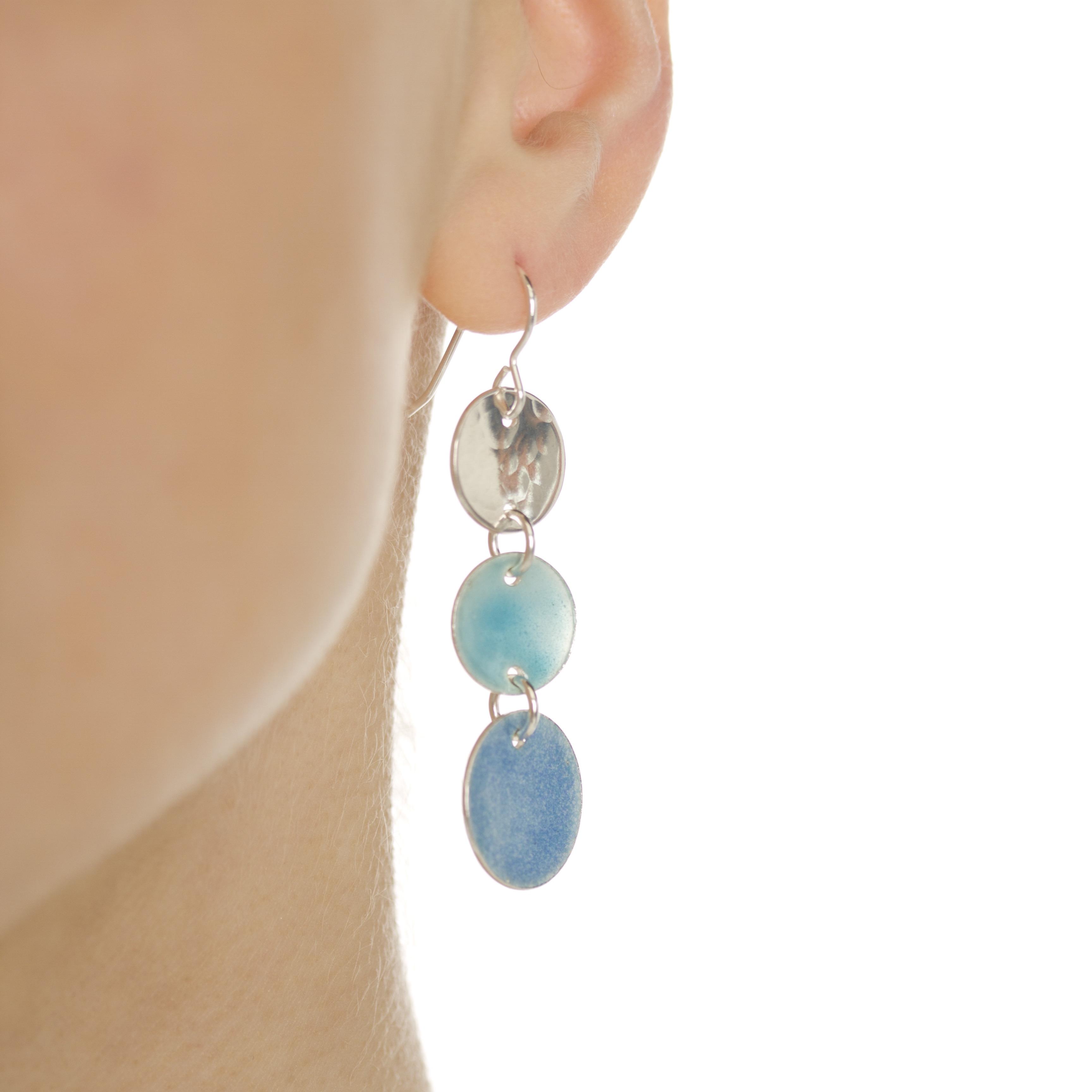 Handmade Langorran Enamelled Silver Earrings
