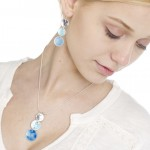blue enamel jewellery set