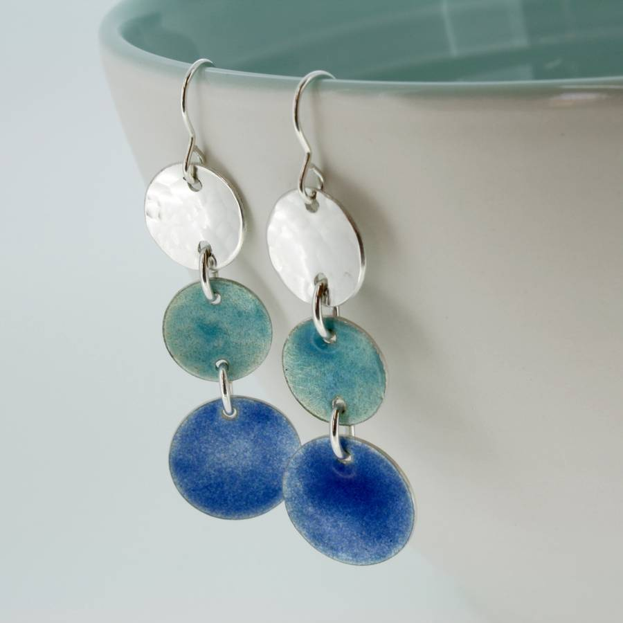 blue enamel disc earrings