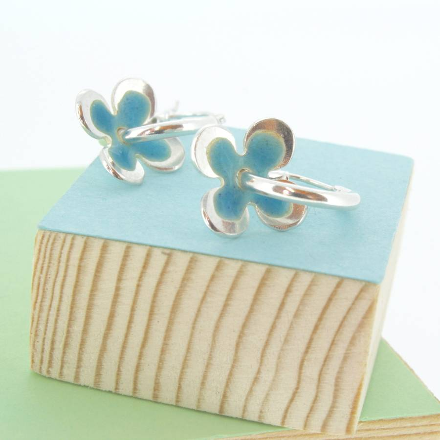 enamel daisies hoop earrings