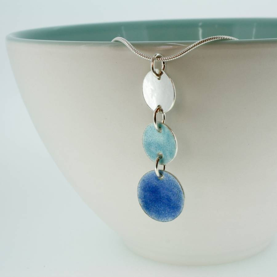 blue enamel disc necklace