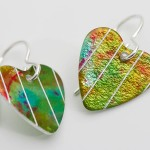 green aluminium heart earrings
