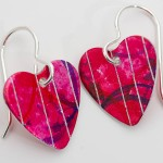 pink aluminium heart earrings