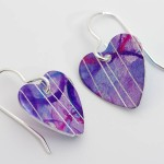 purple aluminium heart earrings