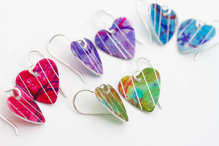 colourful heart earrings