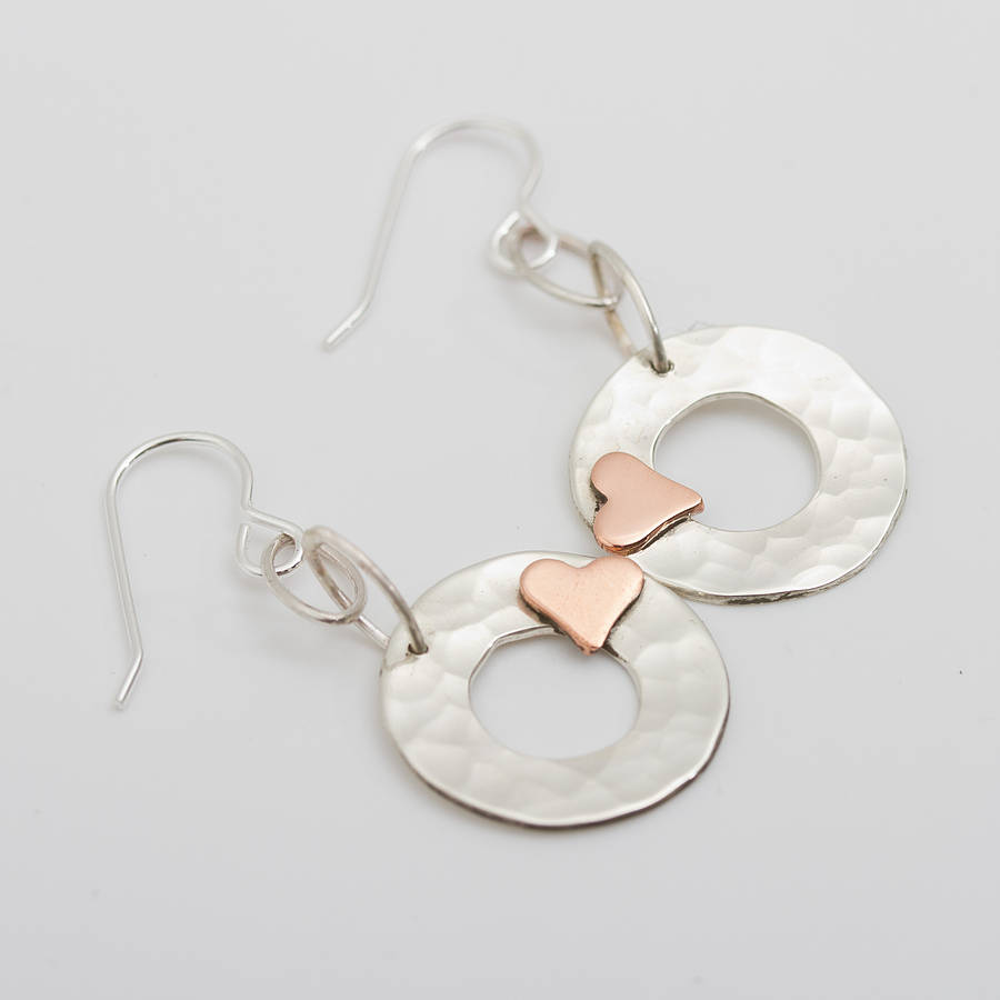 beaten silver disc earrings with gold hearts