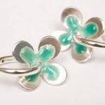 enamel daisies hoop earrings