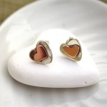 gold heart silver stud earrings