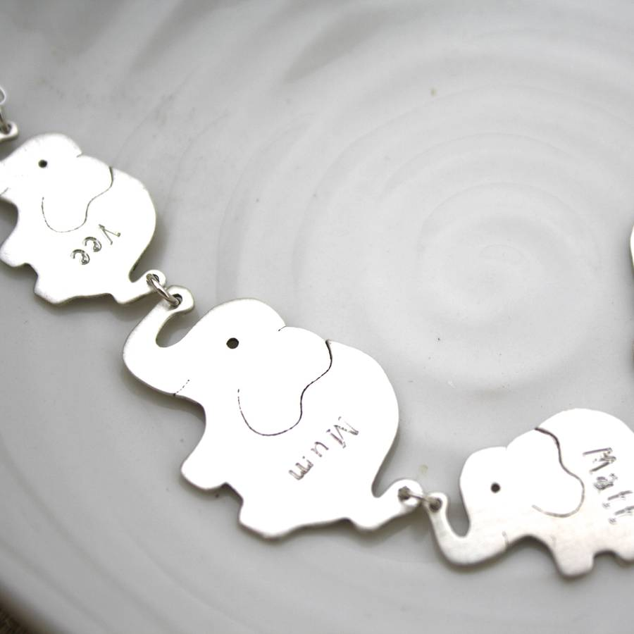 Personalised Elephant Family Silver Necklace Carole
