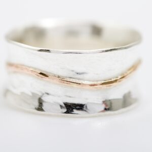 hammered silver ring with gold line