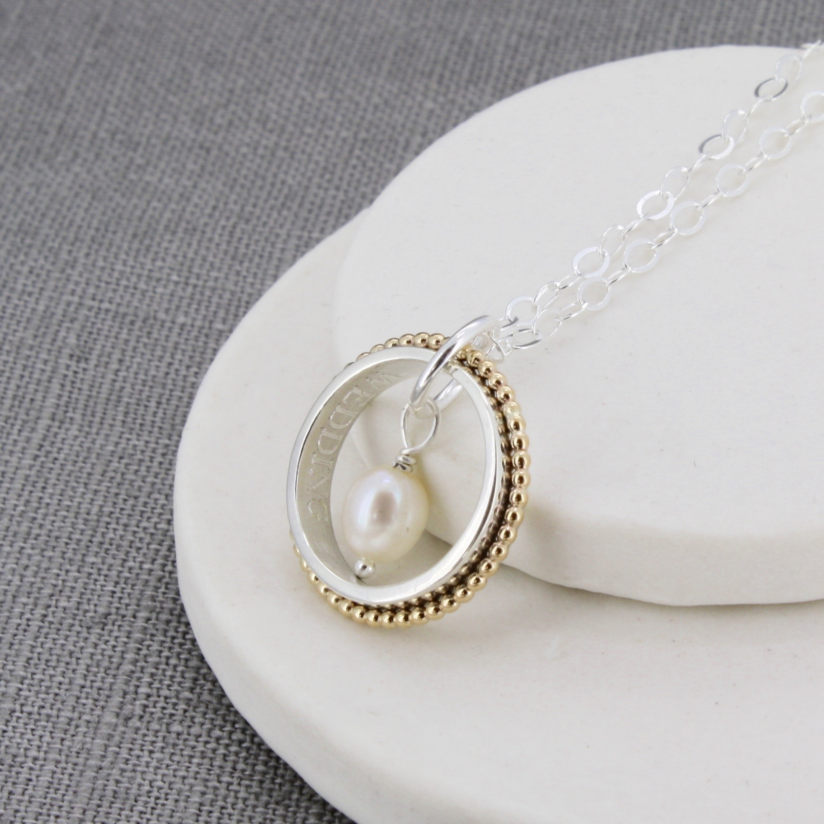 Personalised pearl ring pendant