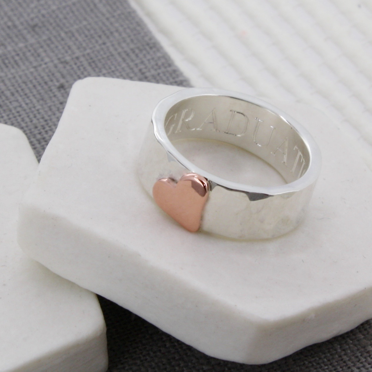 Gold heart personalised hammered ring