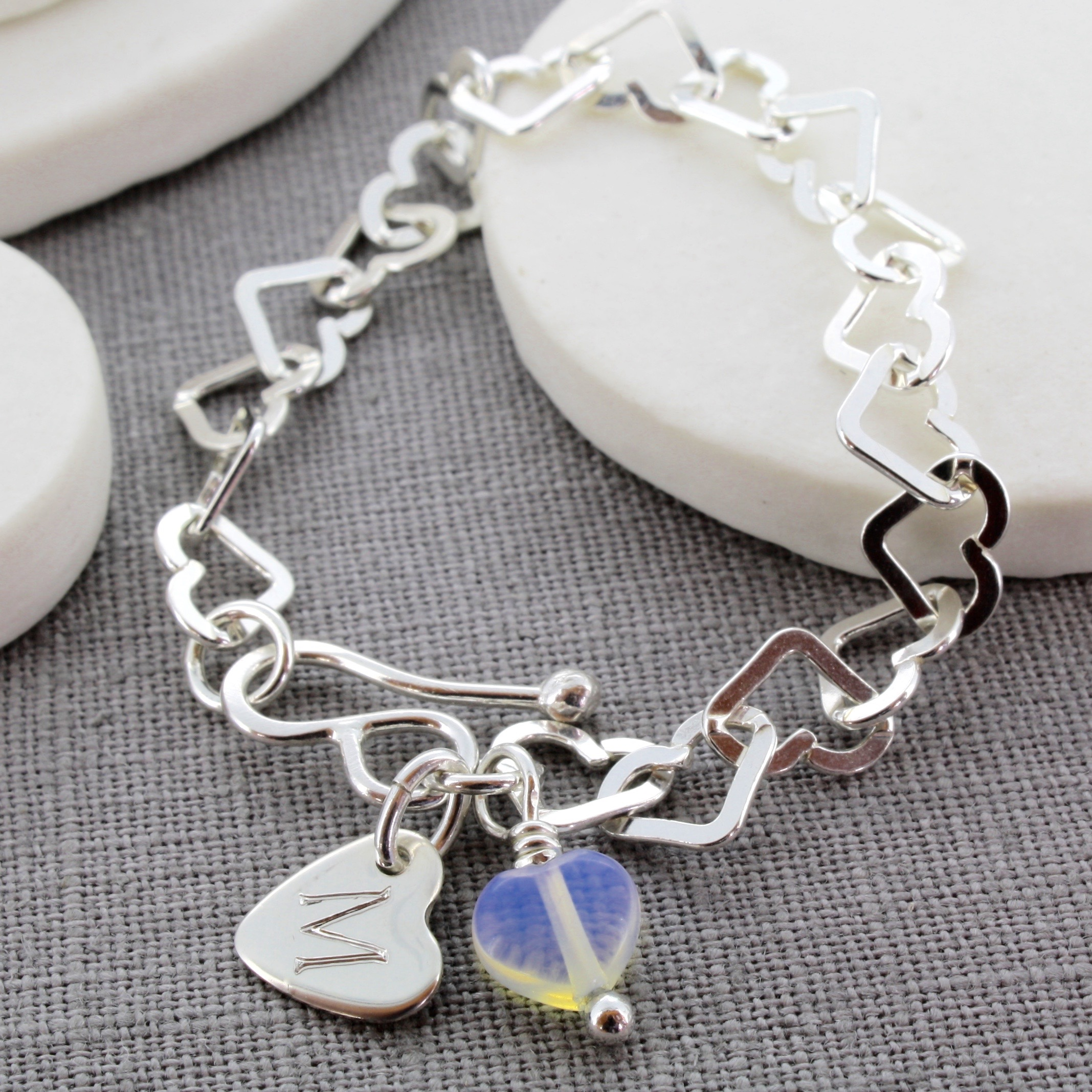 Personalised child's heart bracelet with moonstone