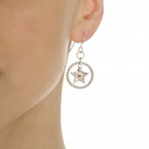star with beaded circle earrings