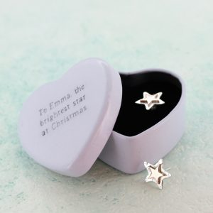 Silver star earrings in engraved gift tin