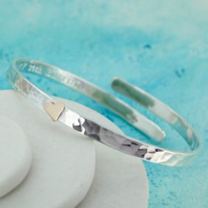 gold heart silver bangle