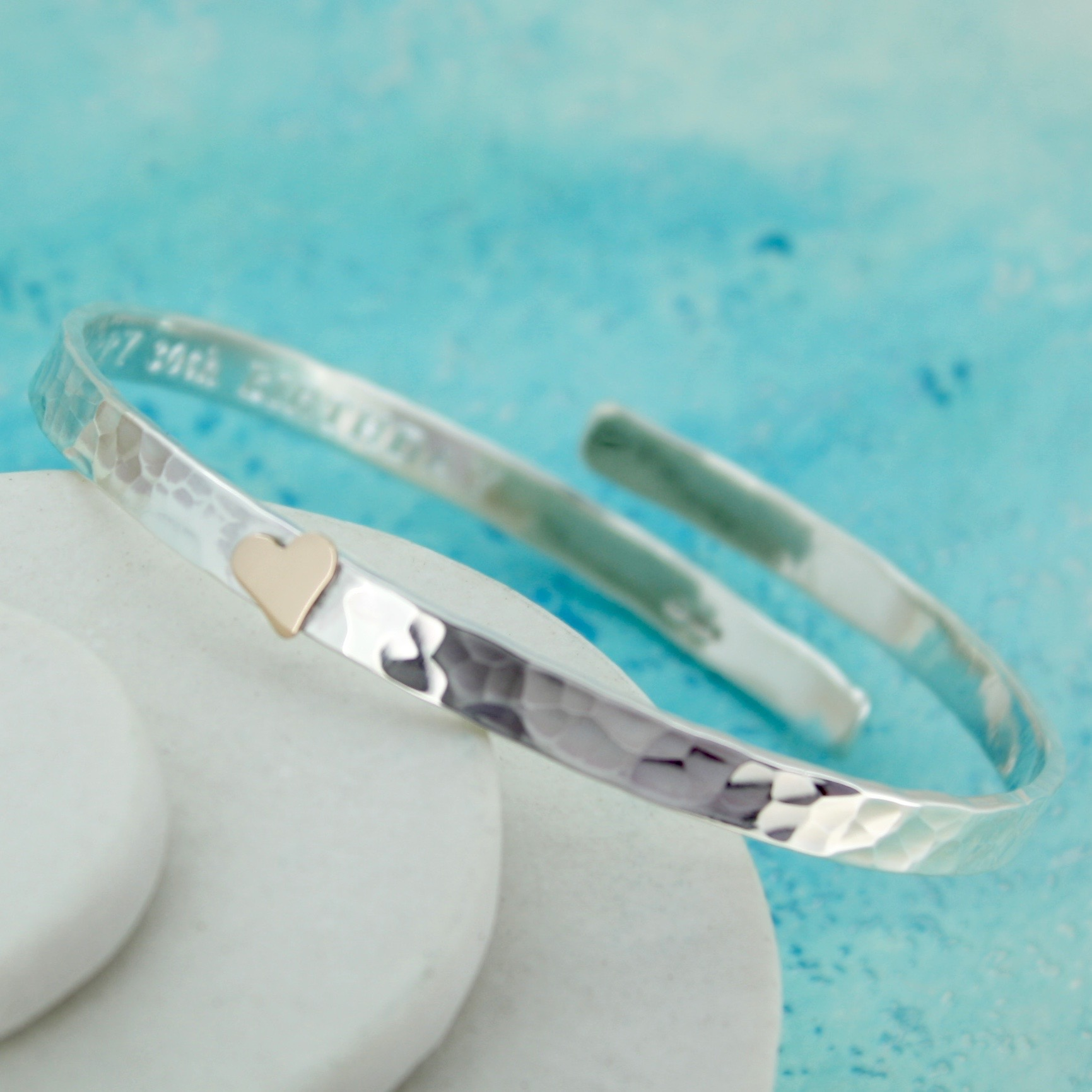 personalised silver crossover bangle with gold heart