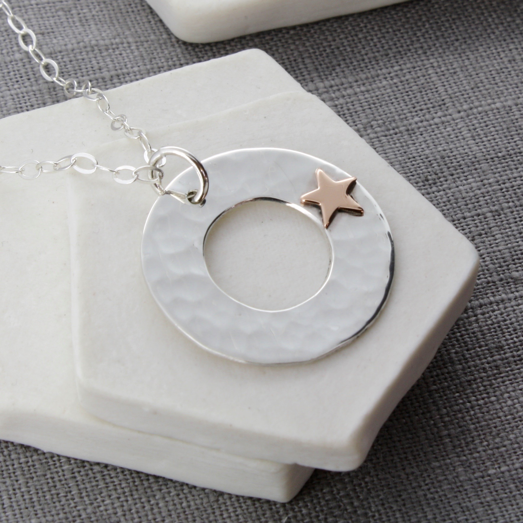 personalised silver disc pendant with gold star
