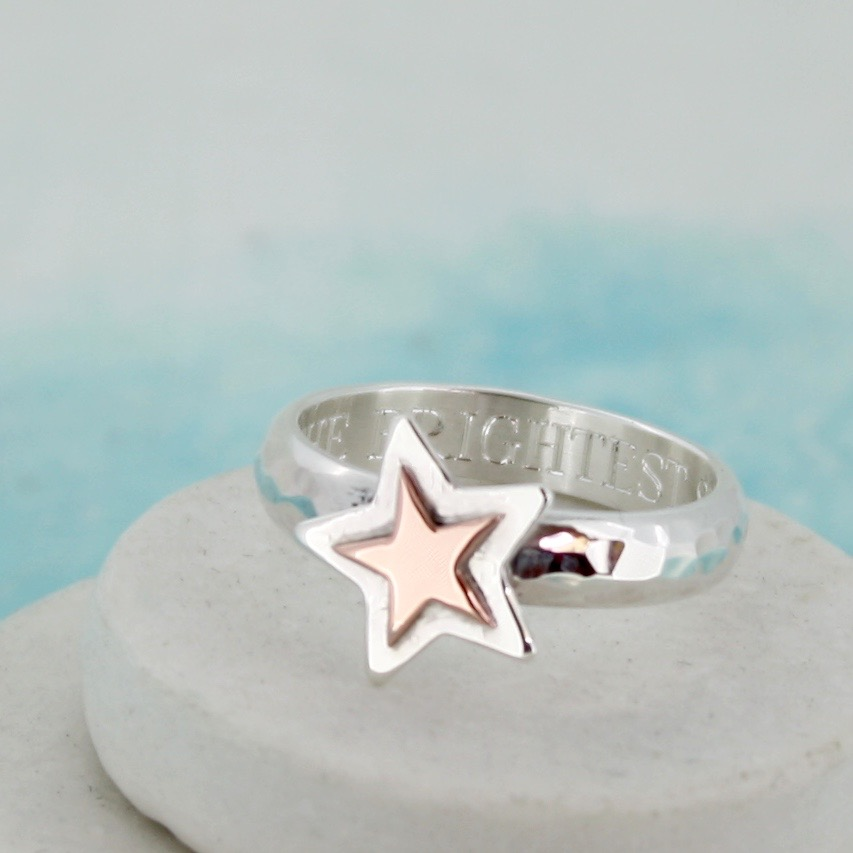 gold star personalised ring