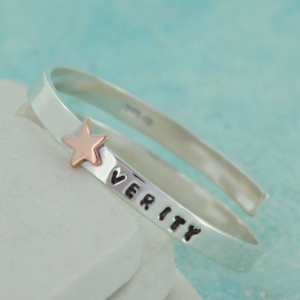 personalised baby bangle with gold star