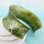 personalised green cuff bangle