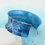 personalised blue aluminium cuff bangle