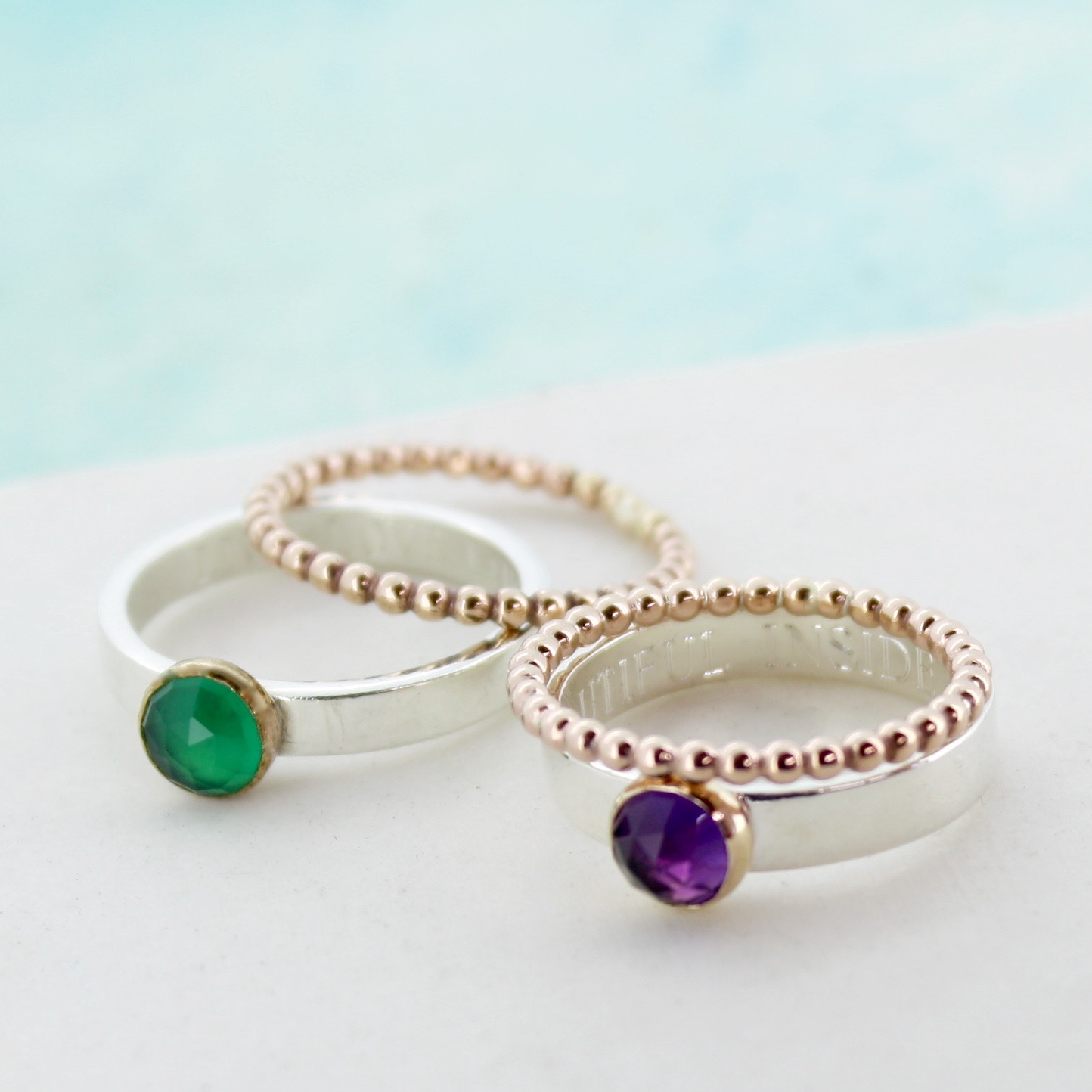 personalised gemstone stacker rings