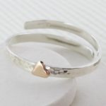 Gold heart personalised baby bangle