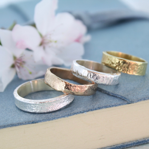 Organic gold wedding rings