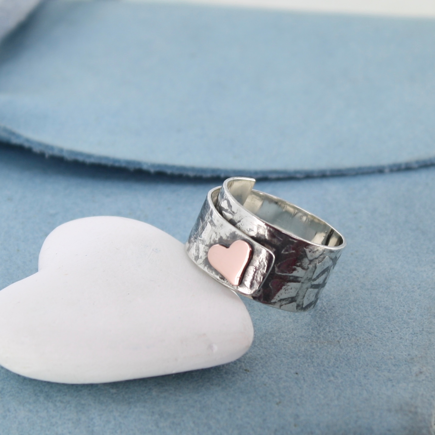Textured heart ring