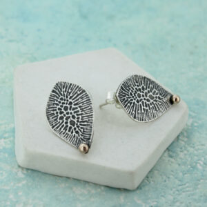 Handmade rose gold and silver textured stud earrings