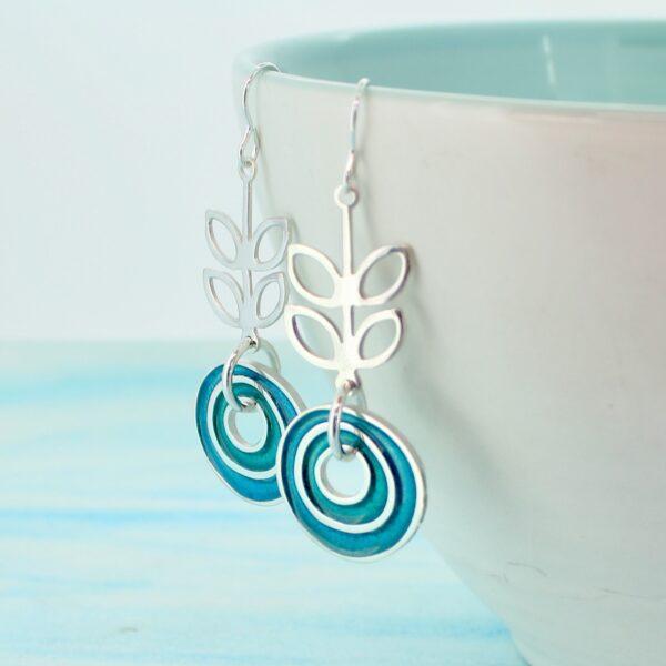 Scandi style green enamel earrings